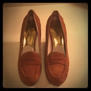 Suede Penny Loafer Wedges by Michael Kors